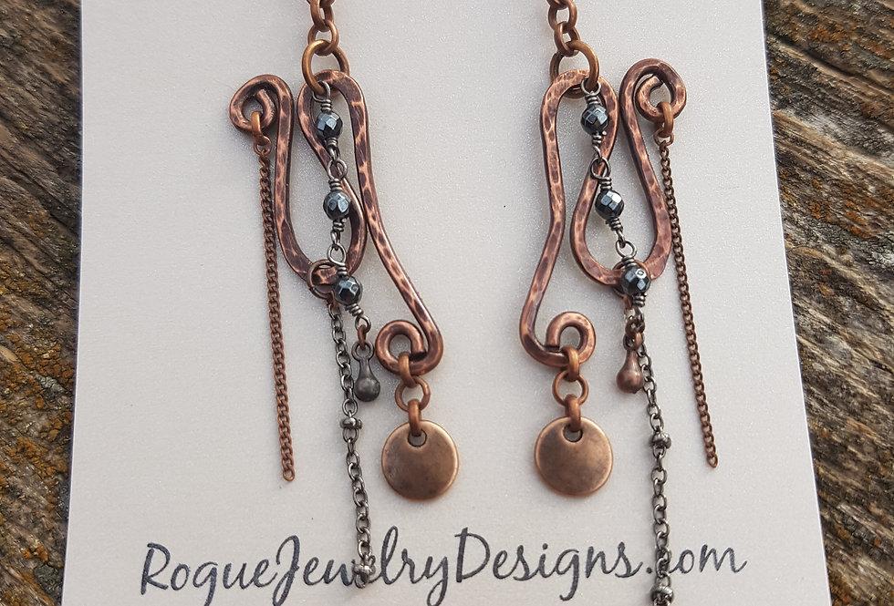 Hammered gemstone earrings