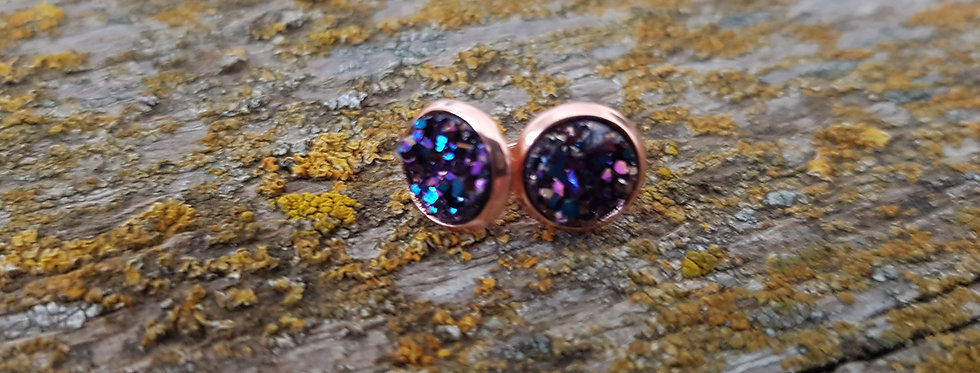 8mm Mystic Purple druzy studs