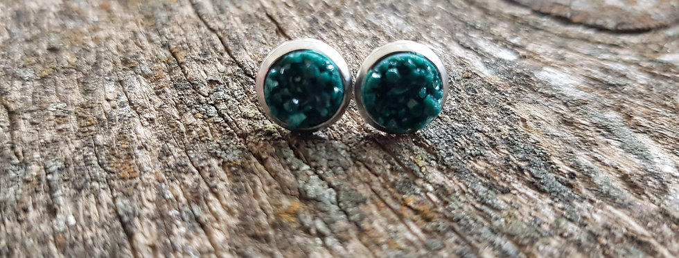 8mm forest green druzy studs