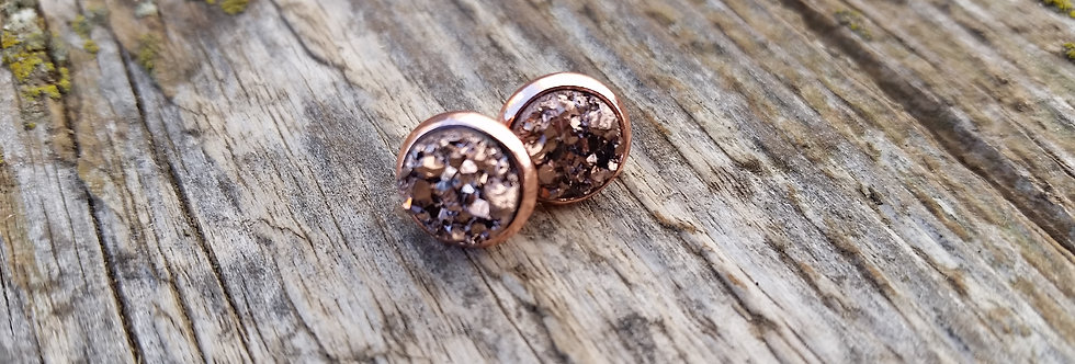 8mm rose gold druzy studs