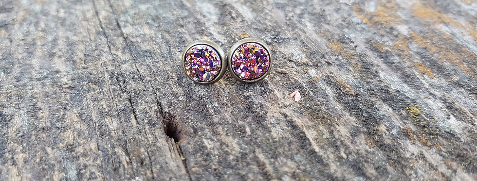 8mm Multicolour sparkle druzy studs