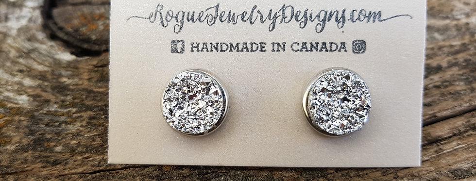 12mm super sparkle silver studs