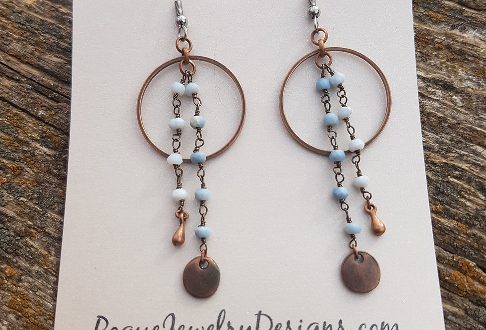 Denim blue opal earrings