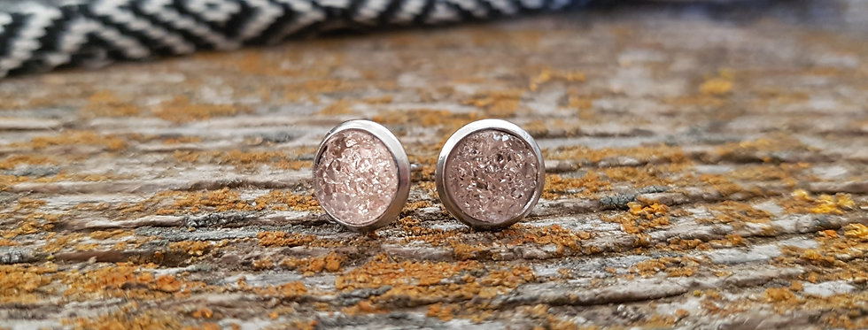 8mm light pink druzy studs