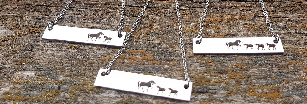 Stainless unicorn mama necklace