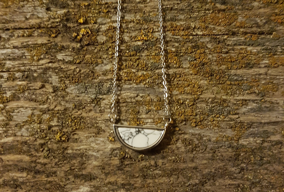 Half moon white howlite necklace