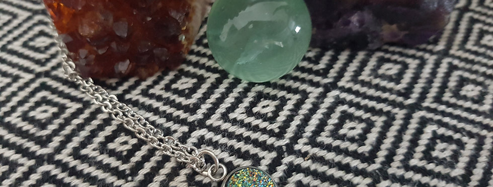 Green gold sparkle druzy necklace