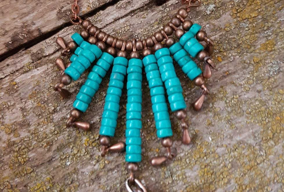Turquoise howlite chevron necklace