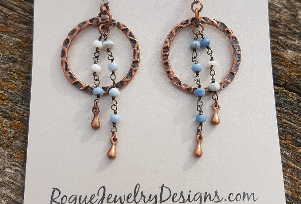 Denim blue opal earrings