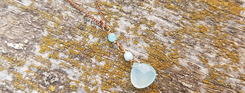 Sea green chalcedony necklace
