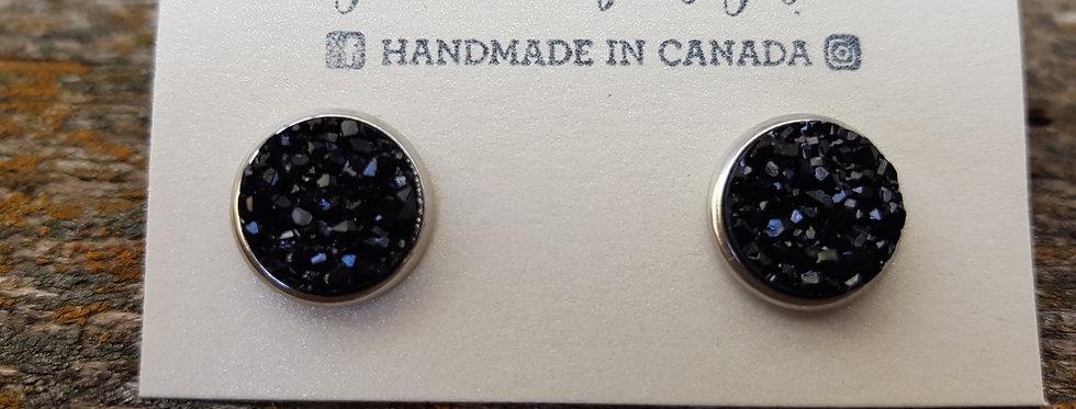 12mm sparkle black druzy studs