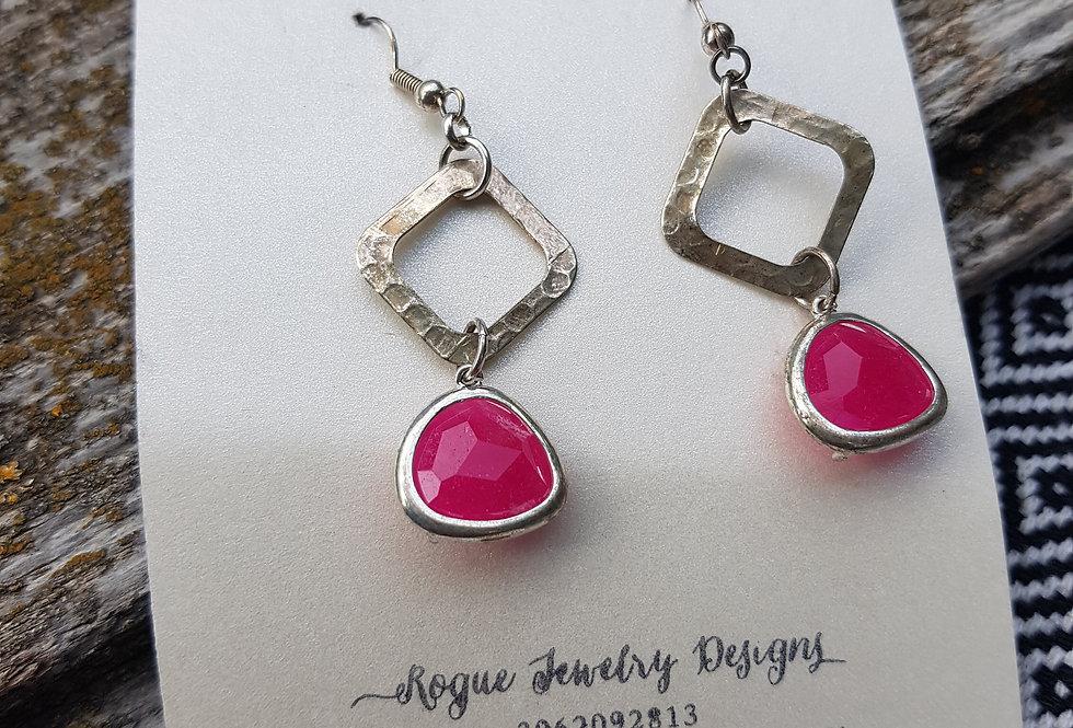 Pink glass earrings