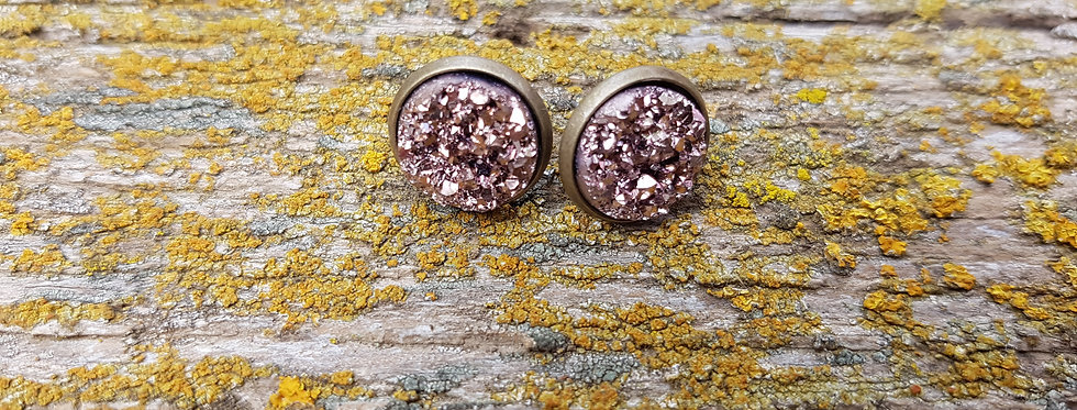 12mm chunky rose gold druzy studs