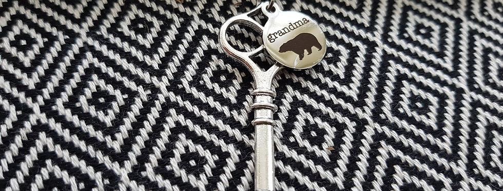 Grandma bear key necklace