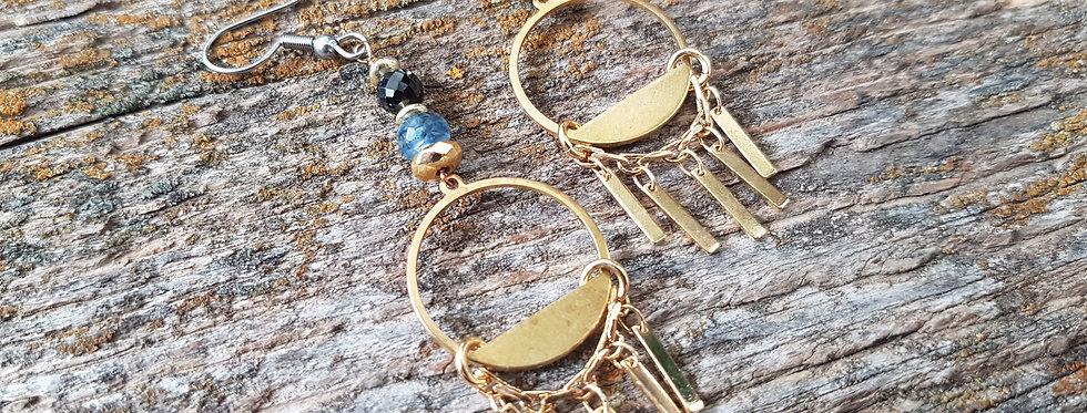 Solstice gemstone earrings-black spinel,blue kyanite