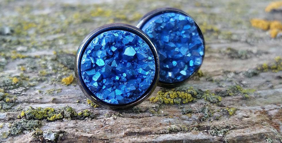 12mm Mystic blue druzy studs