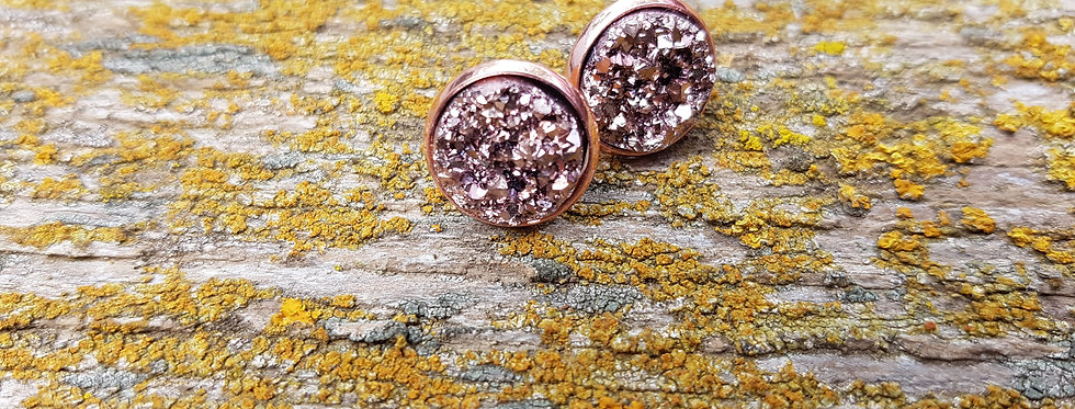 Chunky rose gold druzy studs