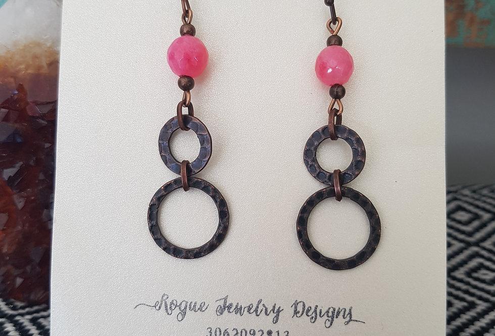Pink mountain jade earrings