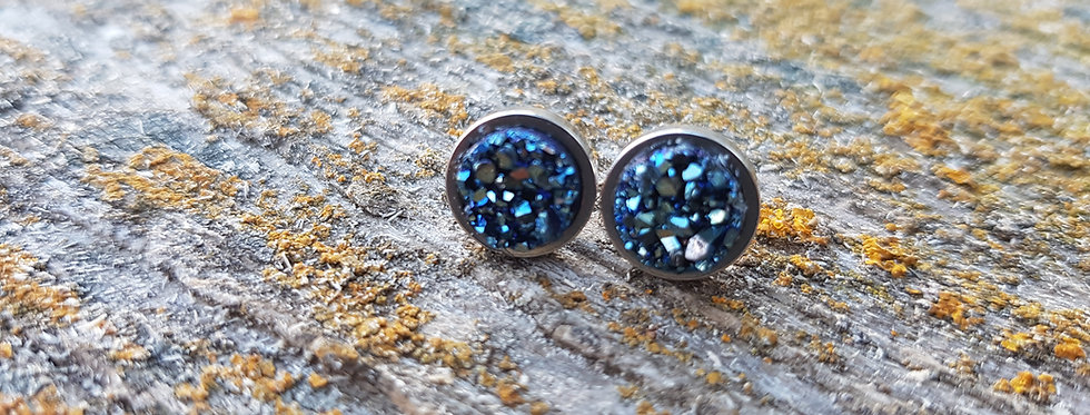 8mm mystic blue druzy studs