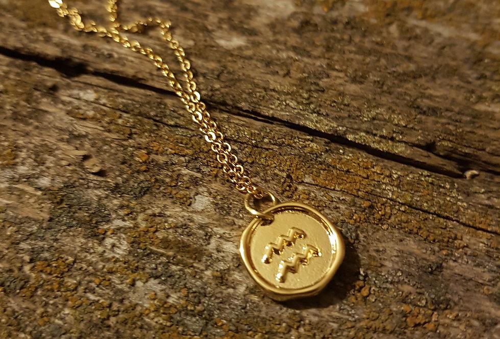 Aquarius wax seal necklace