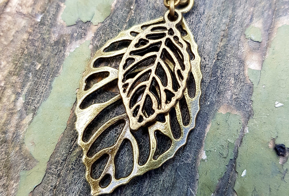Brass leaf necklace