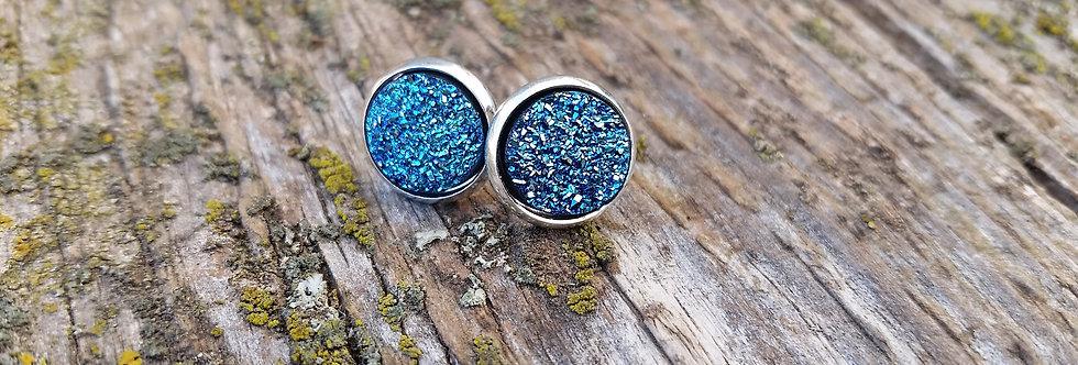 10mm titanium blue druzy studs
