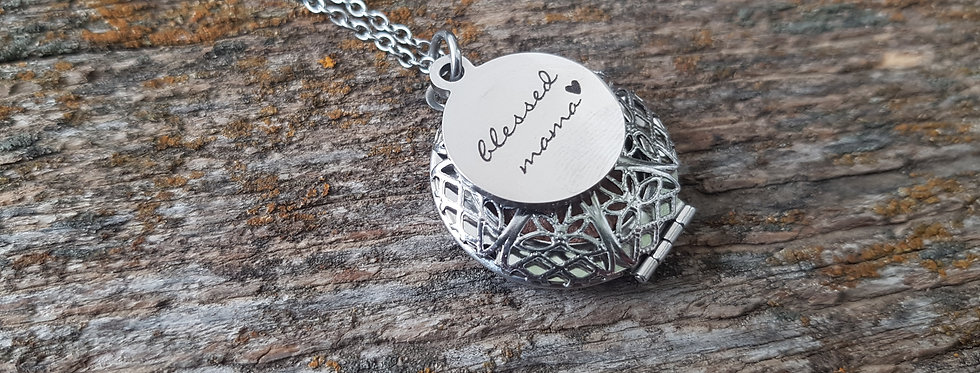 Blessed mama diffuser locket