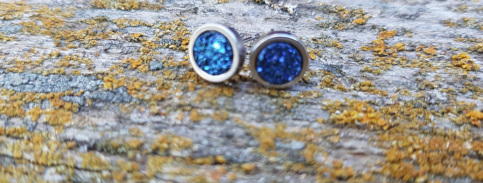 6mm royal blue druzy studs