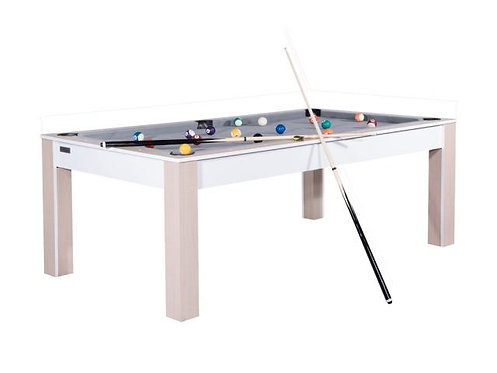 Billard Convertible en Table 7Ft blanc et hêtre