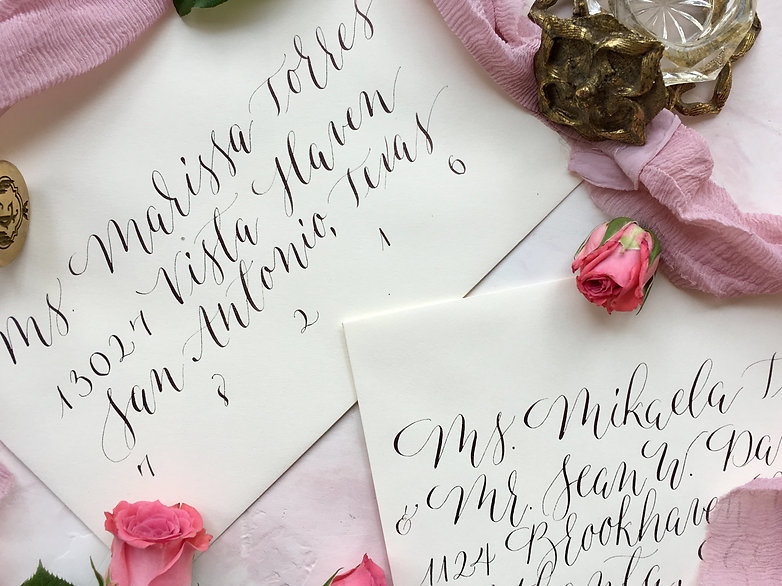 Modern calligraphy wedding invitations 1