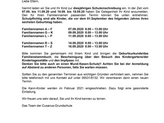 31.08.20 Schuleinschreibung der neuen Erstklässler