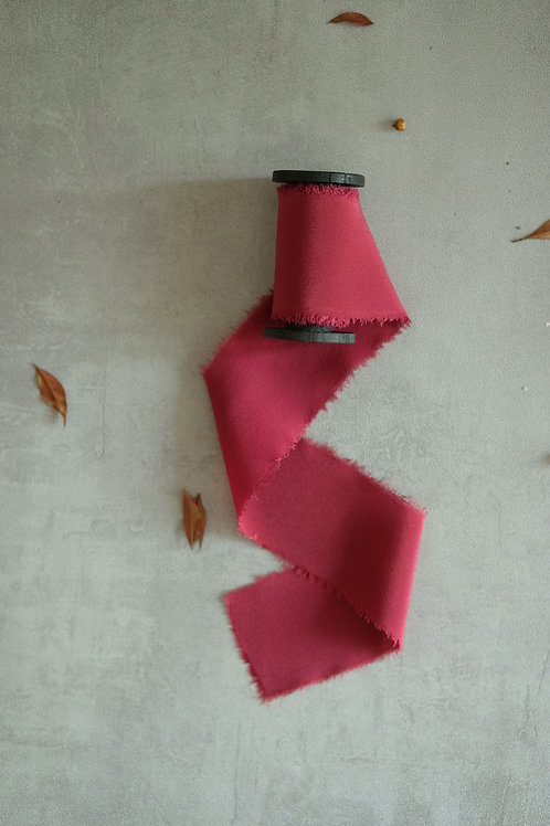Red Natural Dyed Silk Ribbon