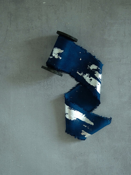 Starry Blue  Natural Dyed Silk Ribbon