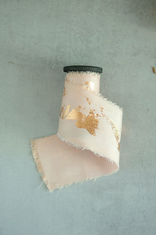 Blush with Rose Gold leaf Natural Dyed Silk Ribbon