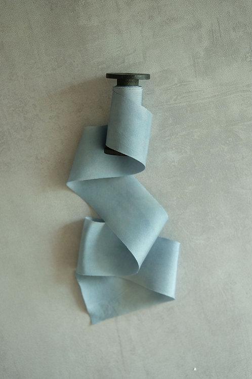 Smoky Blue Natural Dyed Silk Ribbon