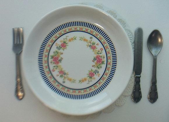 Rose w/Blue Stripe Dinner Plate