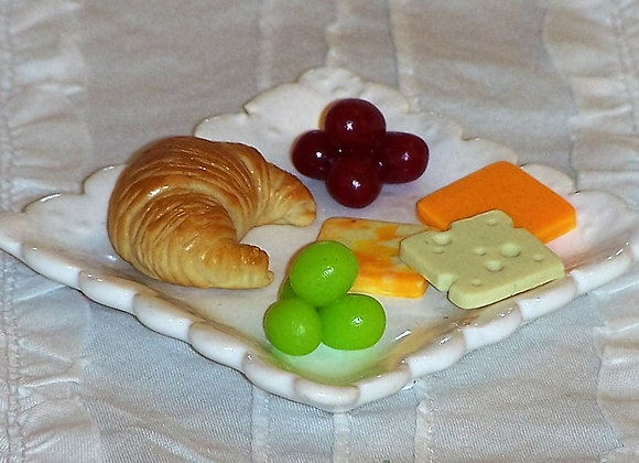 Cheese Slices, Grapes and Mini-Croissant
