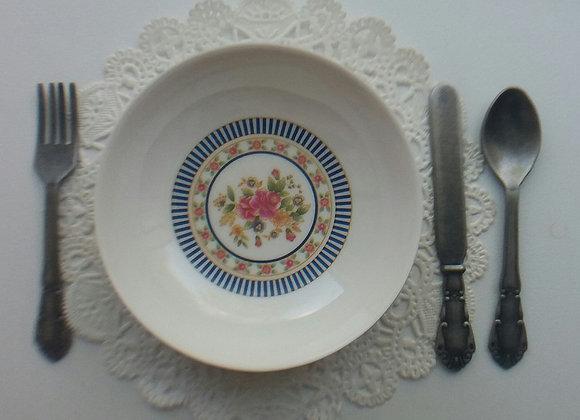 Rose w/Blue Stripe Soup Bowl