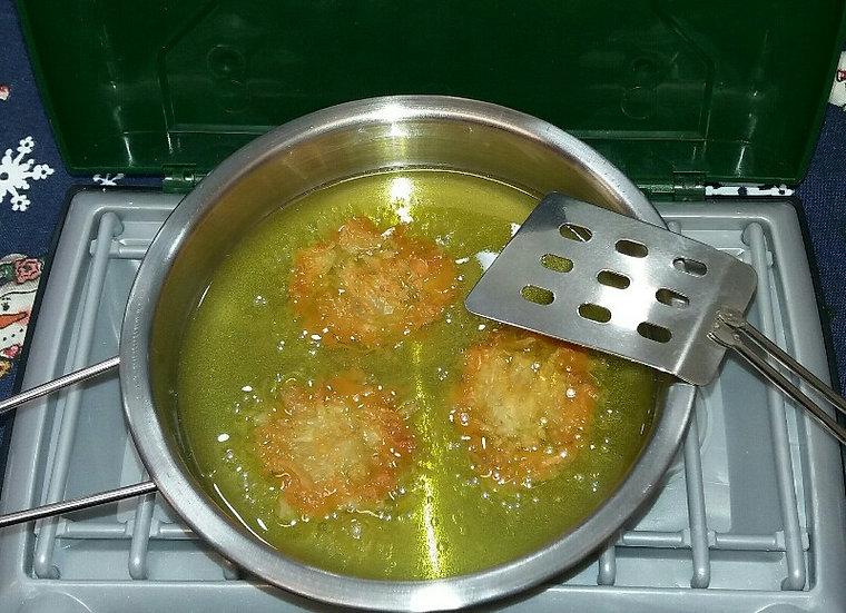 Latkes Frying with Flipper