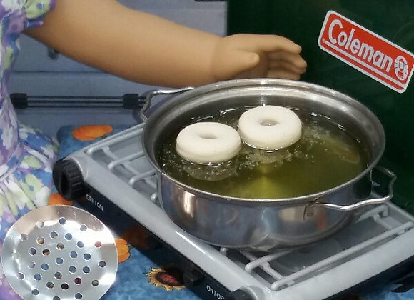 Pan of Frying Donuts