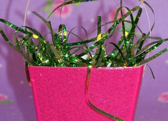 Hot Pink Glitter Easter Basket