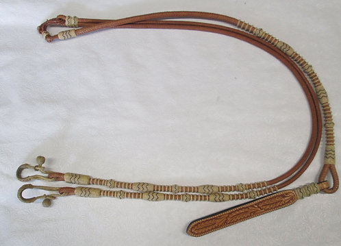 Lightly Used Kathy's or Broken Horn Romel Reins - Light oil
