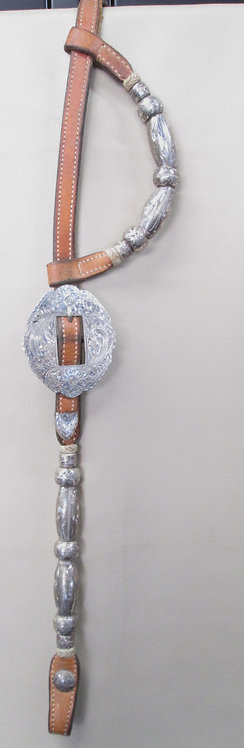2-Ear Broken Horn Sterling Overlay Show Headstall