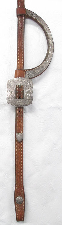 Broken Horn Tooled 1-Ear Headstall - Ranch Horse