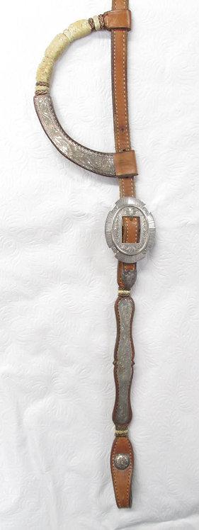 2-Ear Broken Horn Show Headstall, flat silver scalloped edges