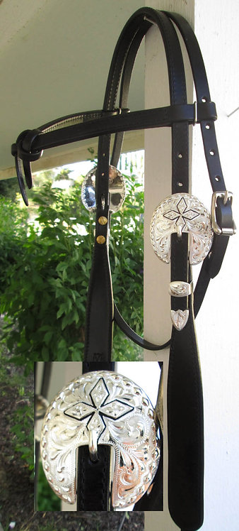 Dale Chavez Black Buckaroo Style Headstall - Black accented buckles