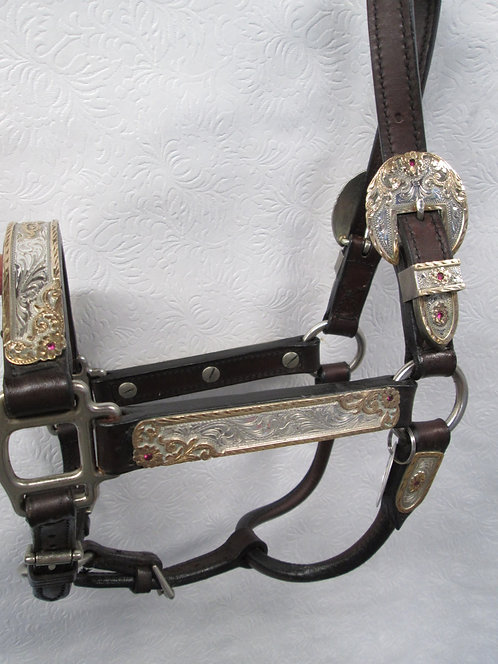 Used Broken Horn Show Halter -Love this pattern Sterling Overlay