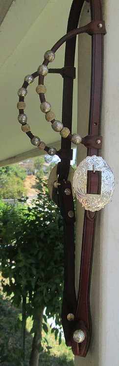 NEW JFS Silver plated  2-ear show headstall