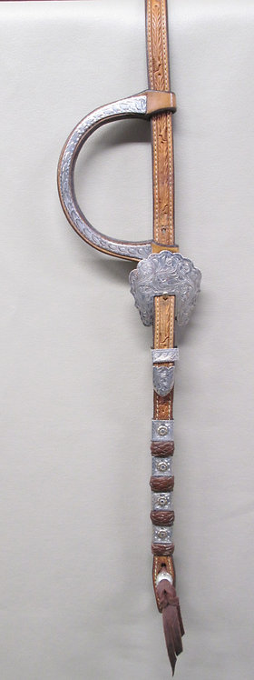 Blue Ribbon Show Headstall with calf skin accents