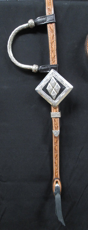 JFS Custom Show Headstall - Tooled Crown & Body, Stunning buckles
